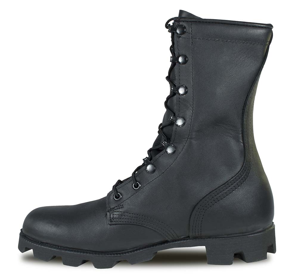 Black All-Leather Combat Boot with Panama Sole  797410cb973