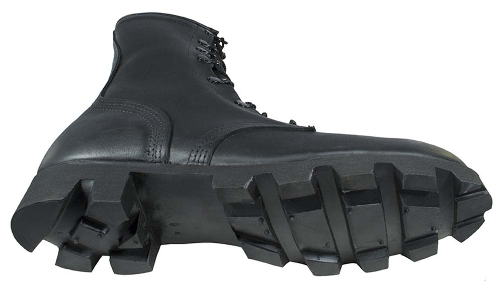 dcba0b29c317 Black All-Leather Combat Boot with Panama Sole - Style  6189