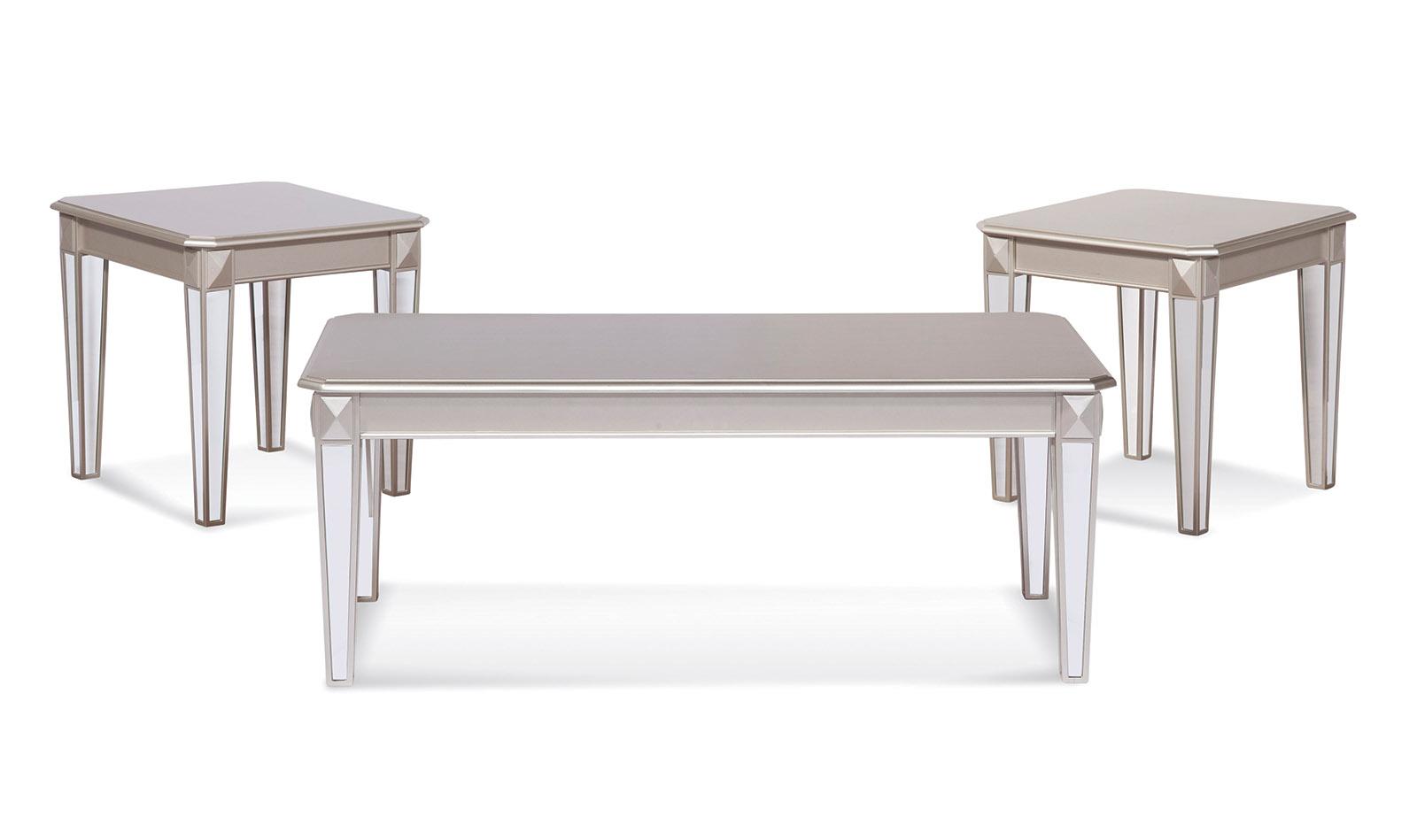 Silver Finish Mirror Leg Table Set