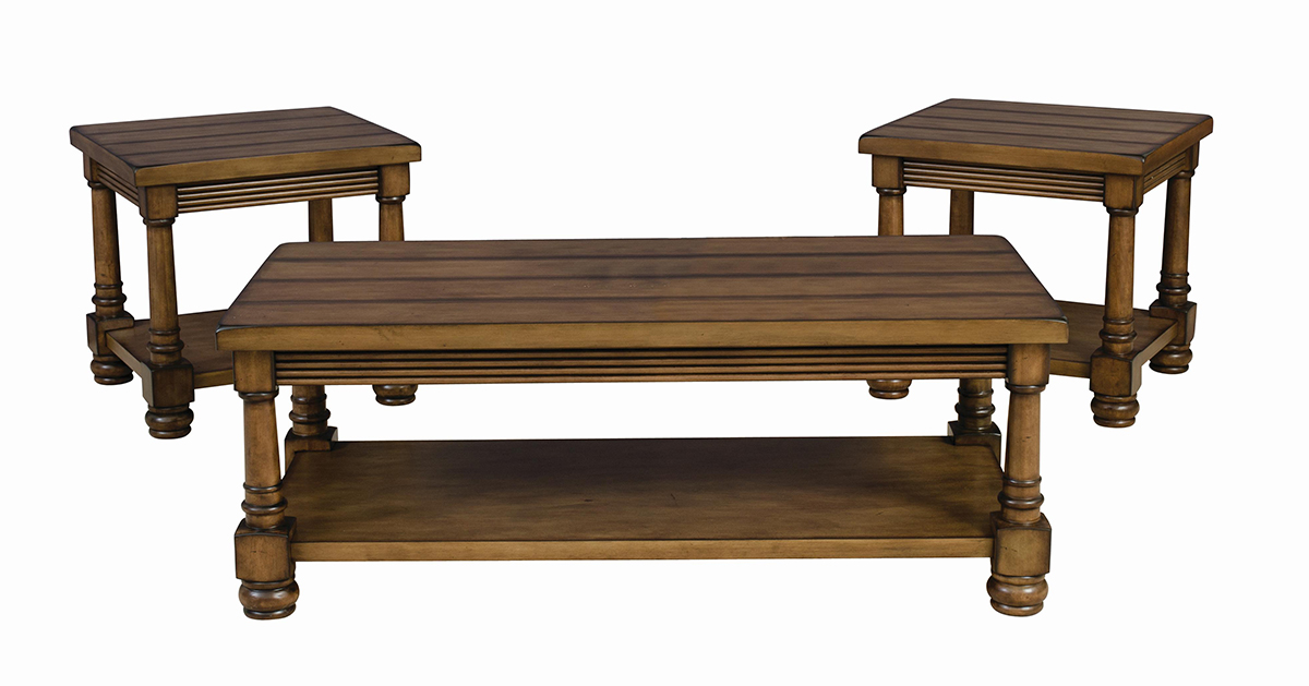 Wood Plank Top Table Set