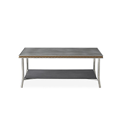 "Visions 42"" Rectangular Cocktail Table with Charcoal Glass"
