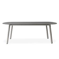 "Elevation 84"" Oval Umbrella Dining Table Light Gray Corian"
