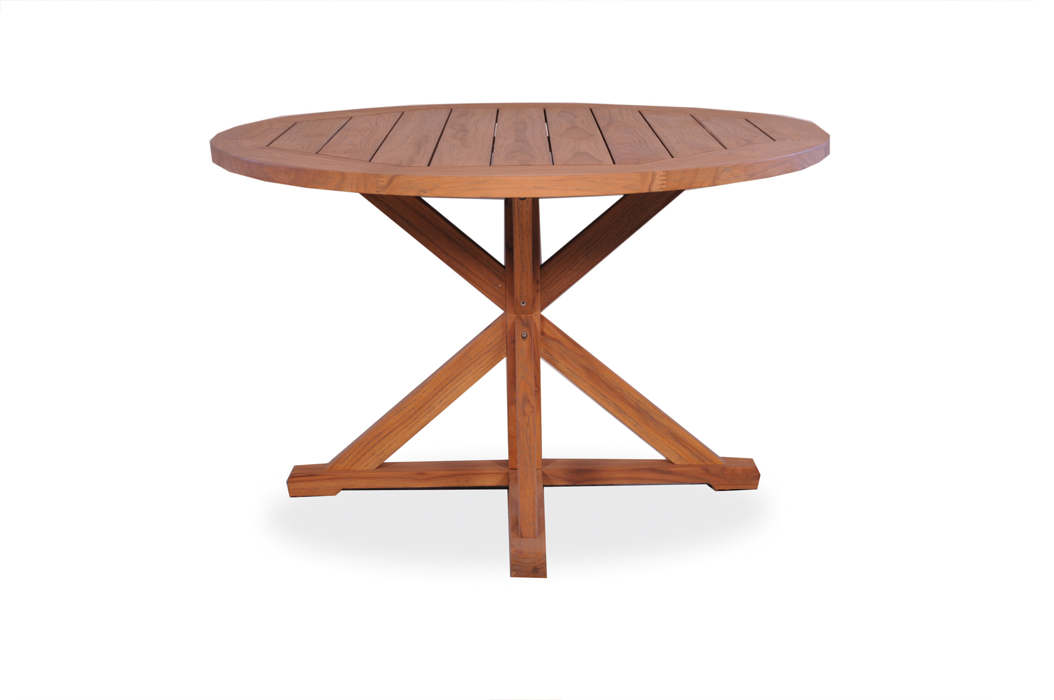 "Teak 48"" Round Cross Base Dining Table"