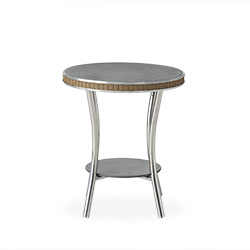 """Essence 20"""" Round End Table with Charcoal Glass"""
