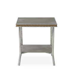 """Visions 20"""" Square End Table with Taupe Glass"""