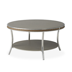 "Essence 33"" Round Cocktail Table with Taupe Glass"