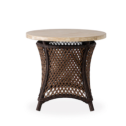 "Grand Traverse 24"" Round End Table with Light Travertine Top"