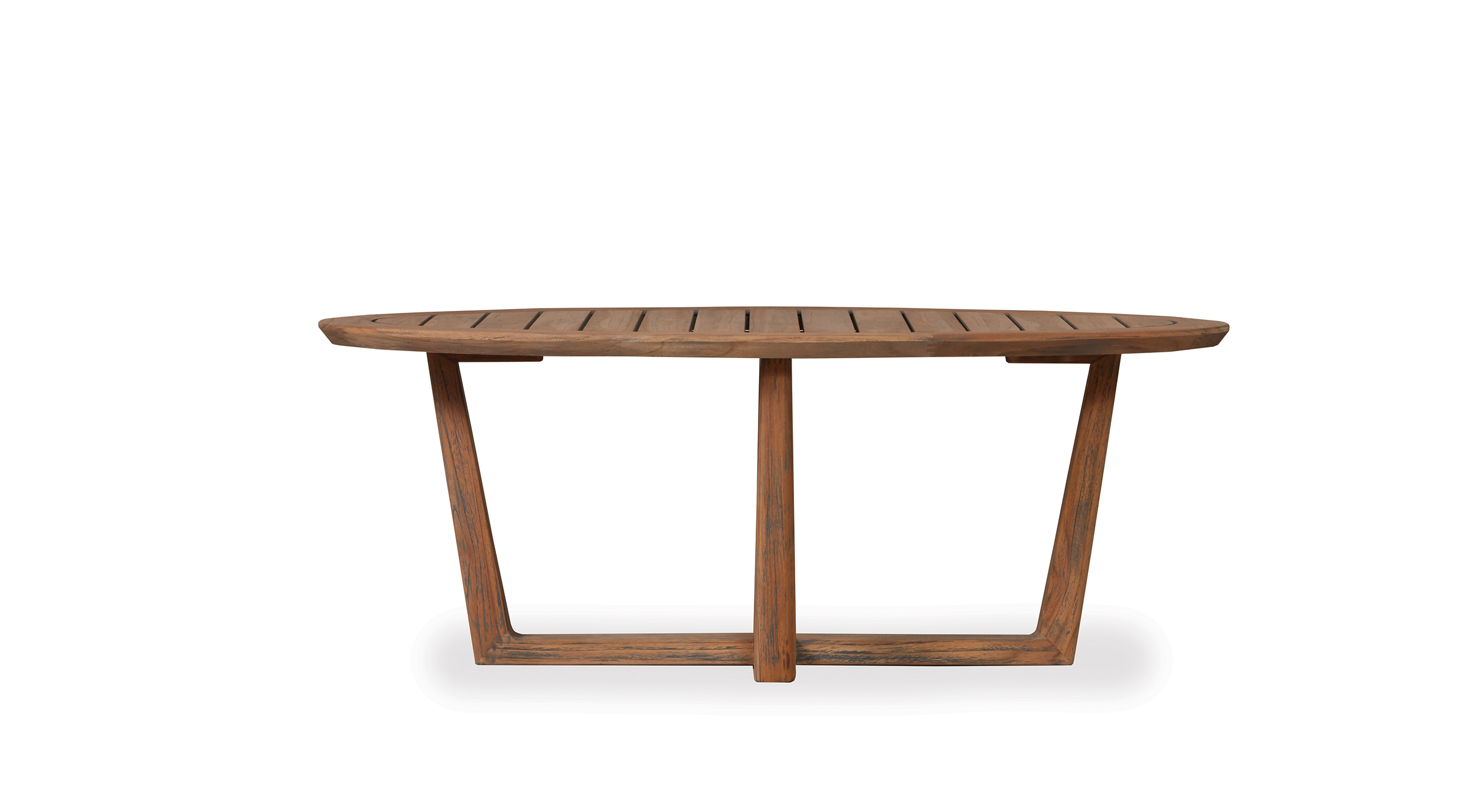 Teak Oval Sled Base Cocktail Table