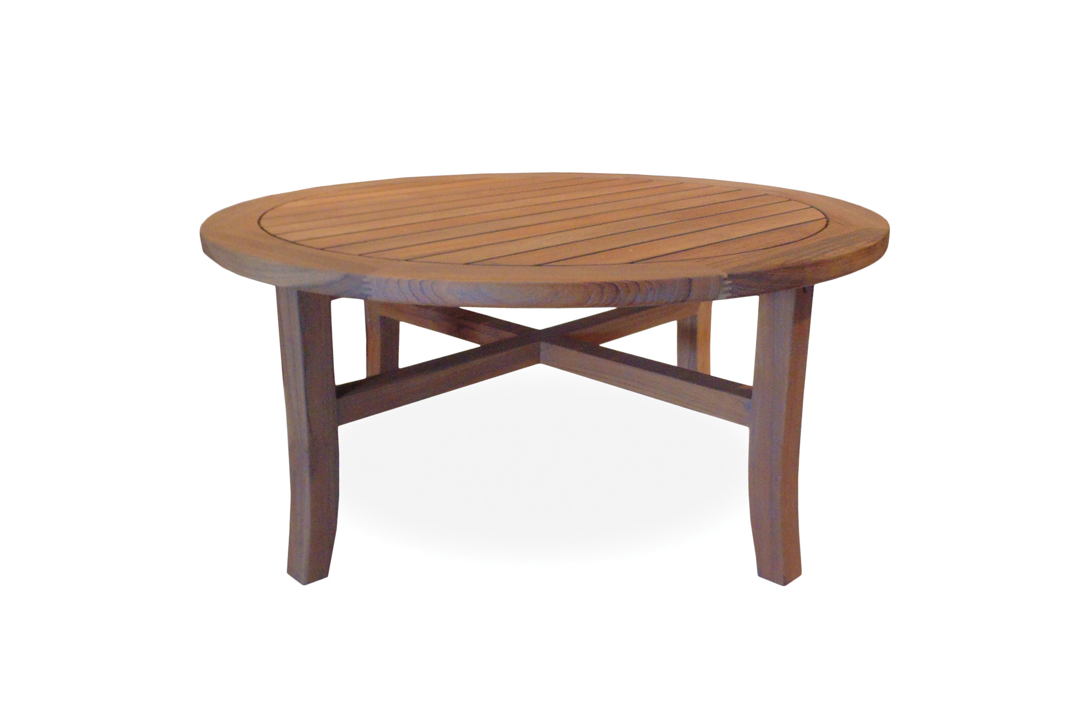 "Teak 40"" Round Tapered Leg Cocktail Table"