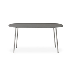 "Elevation 42"" Oval Cocktail Table with Light Gray Corian Top"