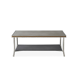 """Visions 42"""" Rectangular Cocktail Table with Taupe Glass"""