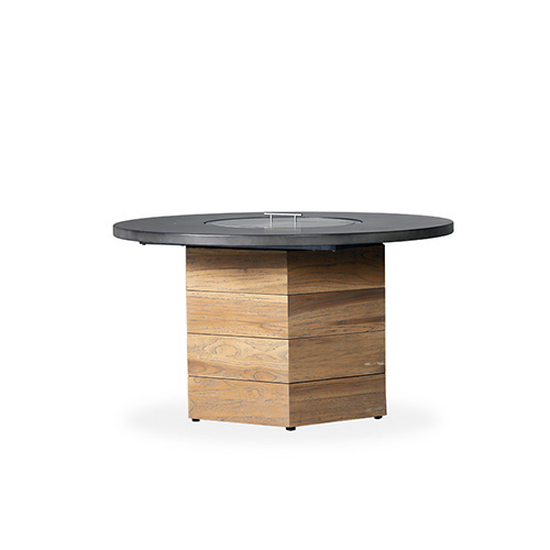 "Teak 48"" Hexagonal Fire Table w/Faux Concrete Top"