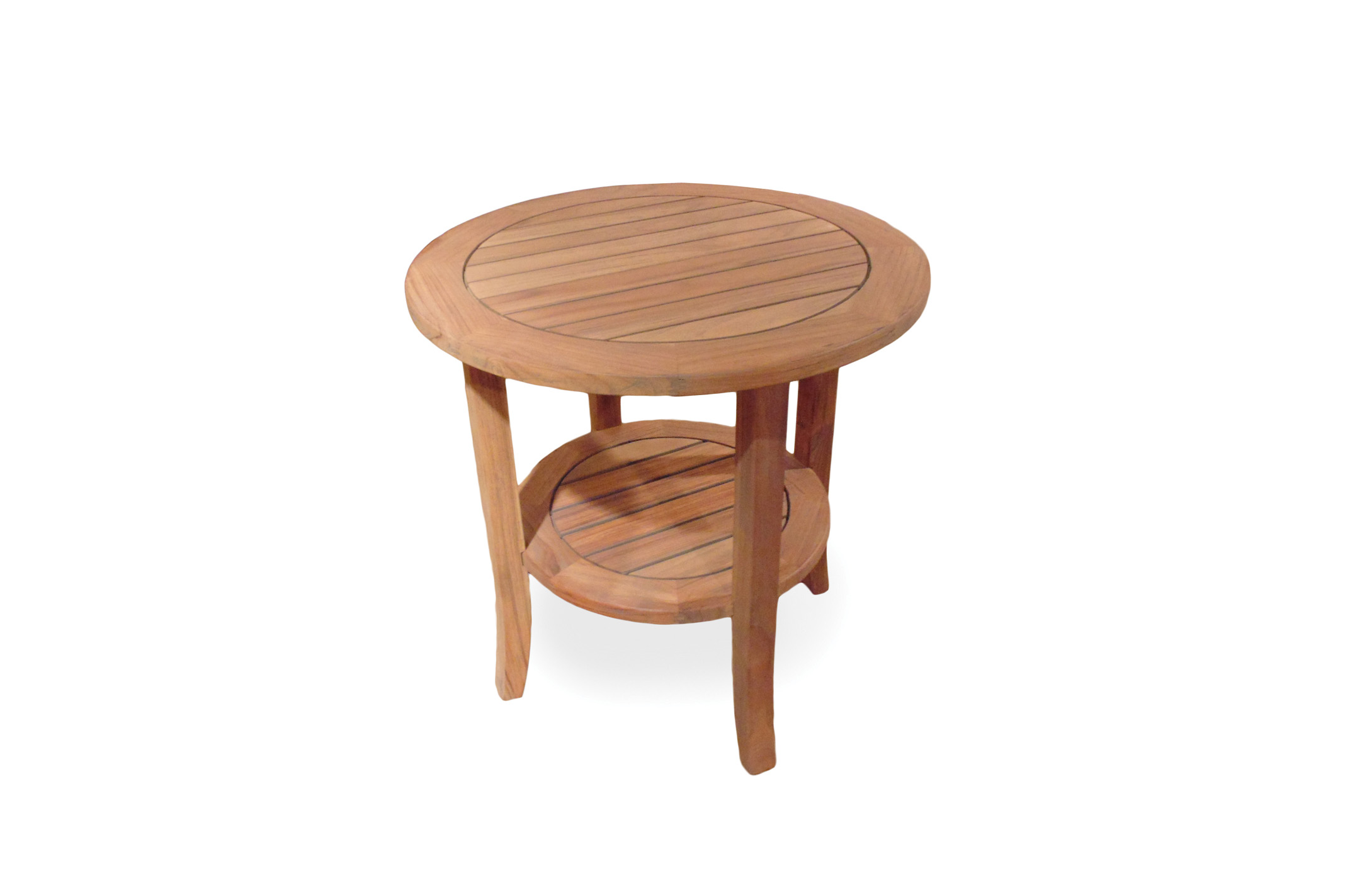 "Teak 24"" Round Tapered Leg End Table with Shelf"