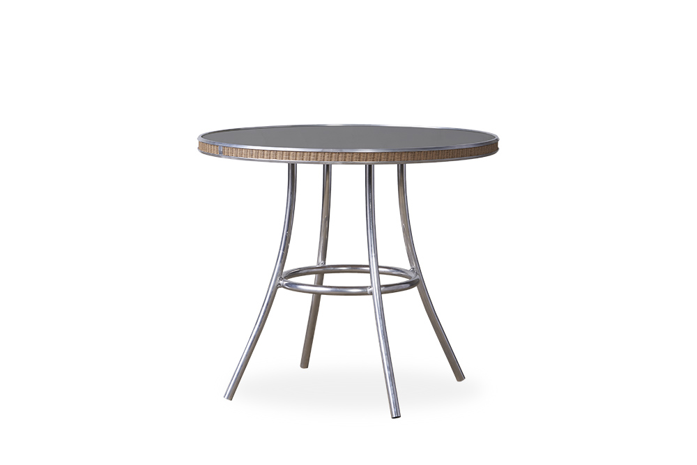 "All Seasons 33"" Round Bistro Table with Charcoal Glass"