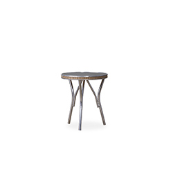 "All Seasons 18.75"" Round End Table With Charcoal Glass"