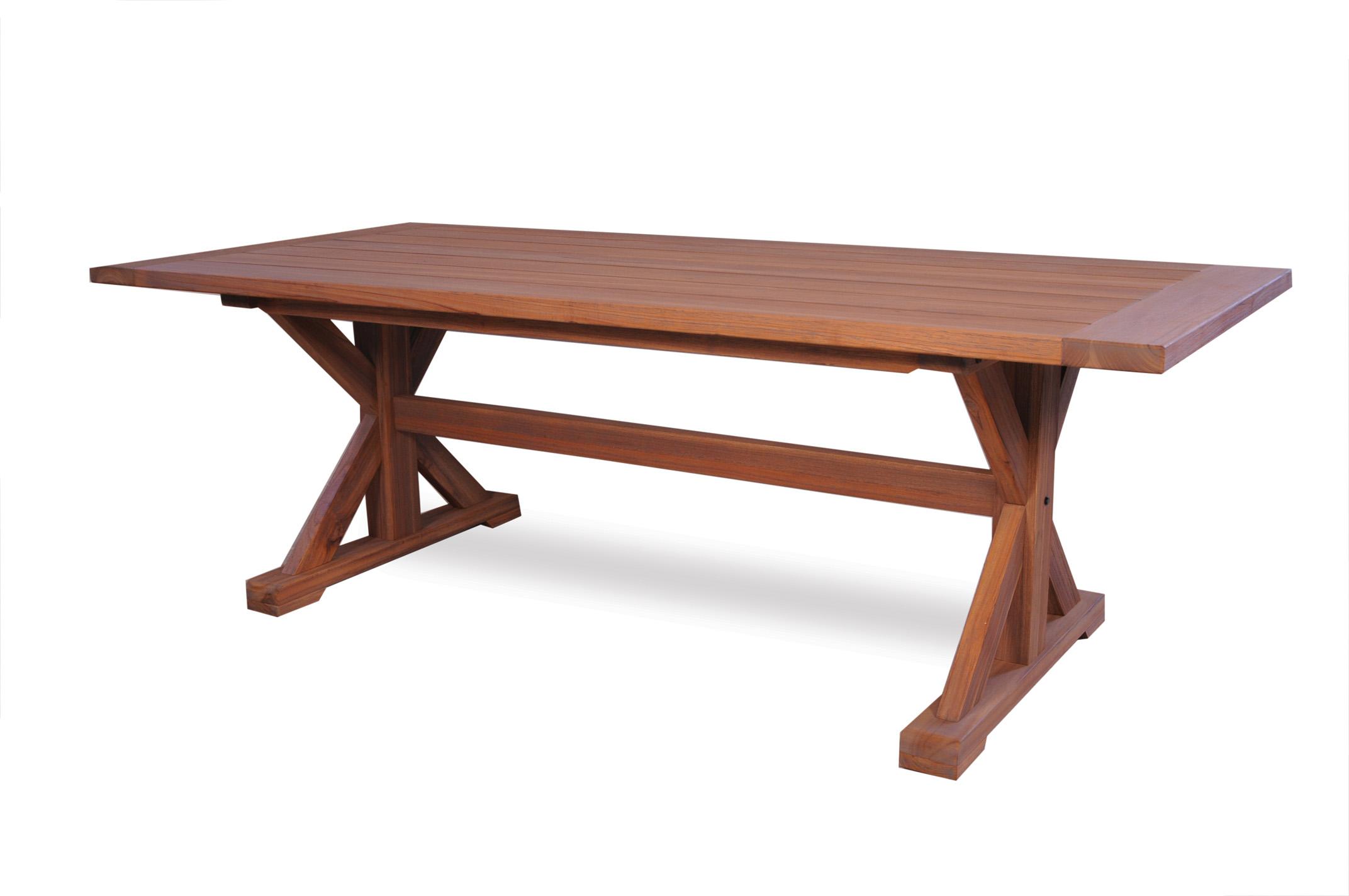 "Teak 87"" Rectangular Trestle Base Dining Table"