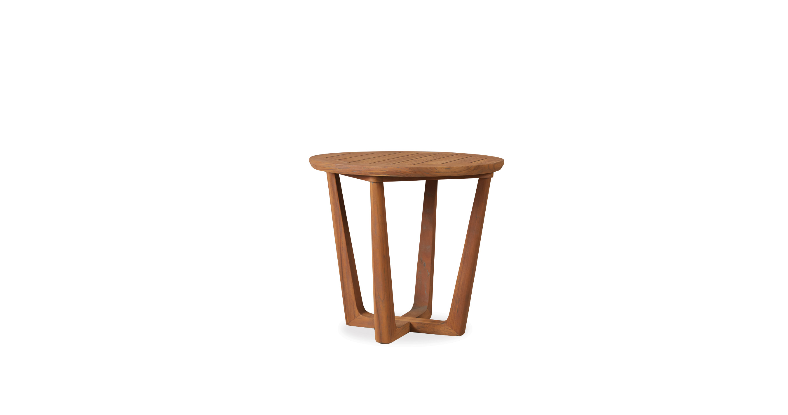 "Teak 24"" Round Sled Base End Table"