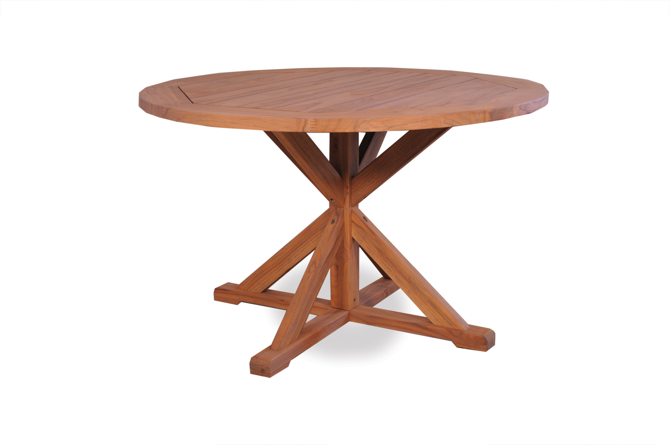 "Teak 48"" Round Dining Table Cross Base"