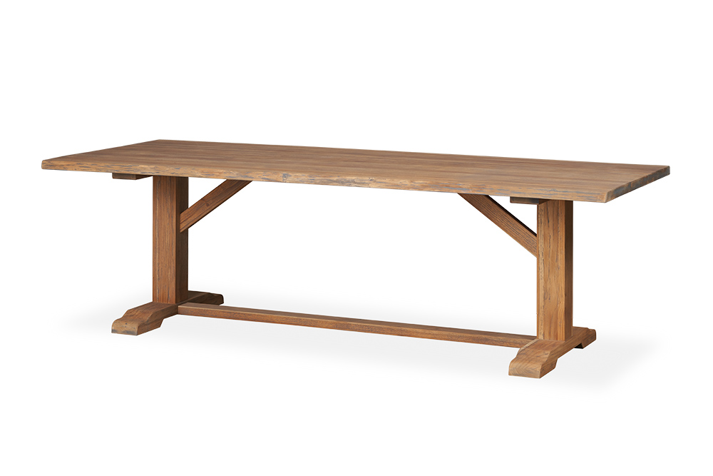 "Teak 98.5"" Teak Rectangular Live Edge Dining Table"