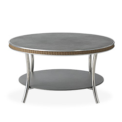 """Essence 33"""" Round Cocktail Table with Charcoal Glass"""