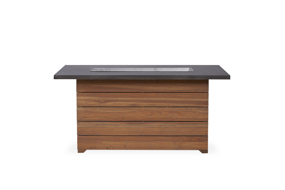 "Teak 52"" Teak Rectangular Fire Table with Stone Top"