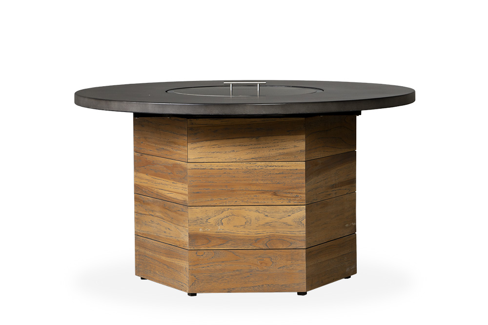 "Teak 48""Teak Hexagonal Fire Table w/Faux Concrete Top"