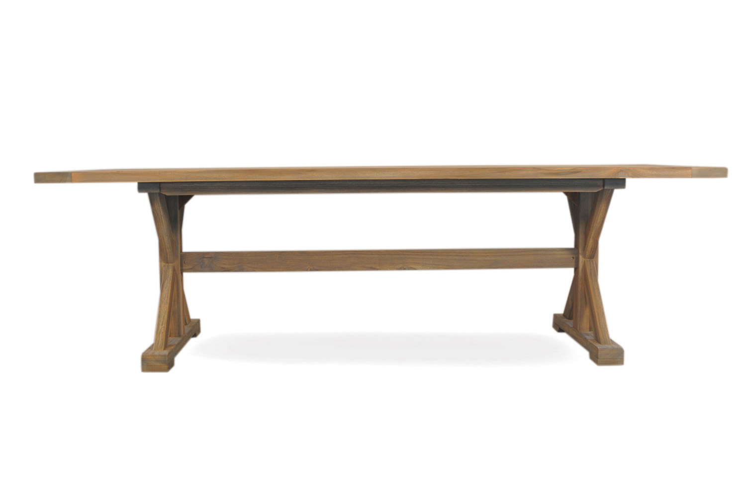"Teak 100"" Rectangular Trestle Base Dining Table"
